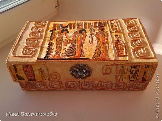 Поделка изделие Аппликация из скрученных жгутиков Декупаж Шкатулка Египет Коробки Салфетки фото 1