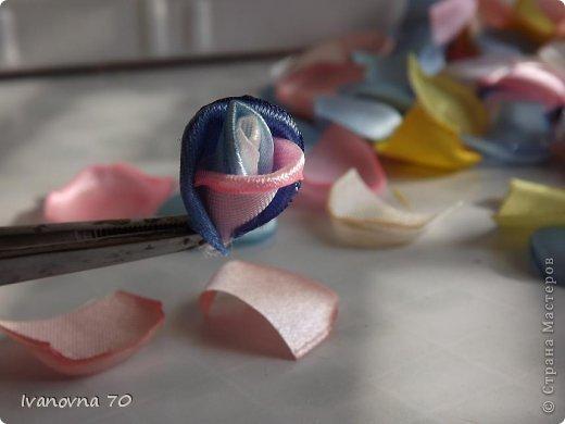 Бонсай топиарий Мастер-класс 8 марта День матери День рождения Цумами Канзаши МК Розовое деревце Клей Ленты Проволока фото 12