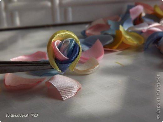 Бонсай топиарий Мастер-класс 8 марта День матери День рождения Цумами Канзаши МК Розовое деревце Клей Ленты Проволока фото 13