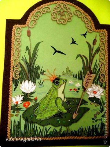 Картина панно рисунок 8 марта Макраме Макраме-пано от Петерс Розы  царевна- лягушка Нитки фото 1