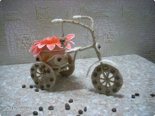 Мастер-класс Поделка изделие 8 марта Моделирование конструирование Шпагатный велосипед МК Кофе Проволока Шпагат фото 33