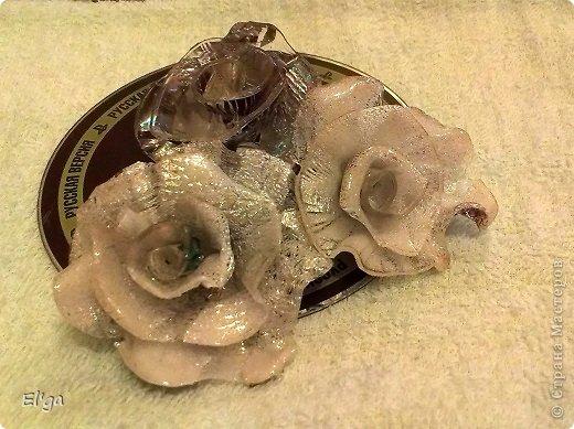 Поделка изделие Розы из компьютерных дисков Диски компьютерные фото 1