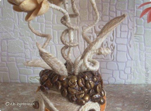 Мастер-класс Поделка изделие Лепка Моделирование конструирование Шпагатно-фисташковый цветок Кофе Проволока Салфетки Тесто соленое Шпагат фото 6