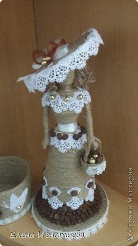 Мастер-класс Поделка изделие Моделирование конструирование Моя леди - как я ее делала  Бусинки Бутылки пластиковые Кофе Кружево Шпагат фото 29