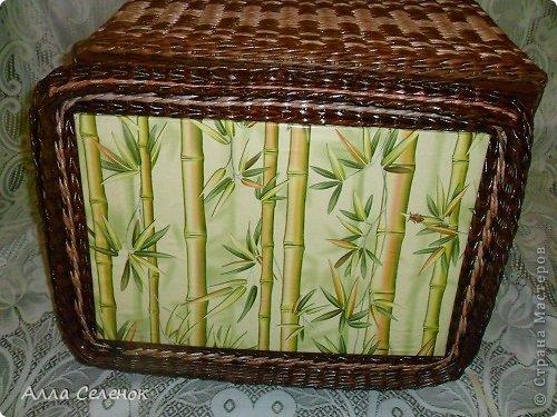 Поделка изделие Плетение Короб для салфеток Бумага газетная Трубочки бумажные фото 9