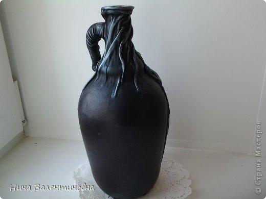 Мастер-класс Поделка изделие Бутыль Розы  Бутылки стеклянные Клей Кожа фото 6