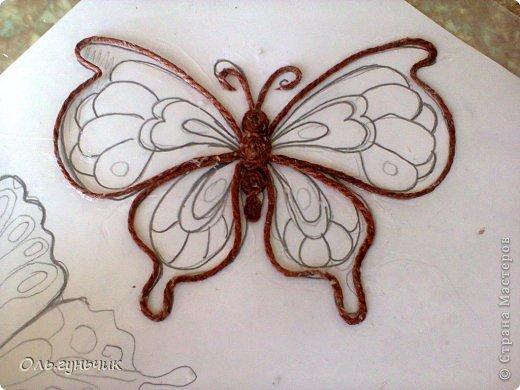 Интерьер Мастер-класс Поделка изделие Аппликация МК Филигранной бабочки Шпагат фото 9