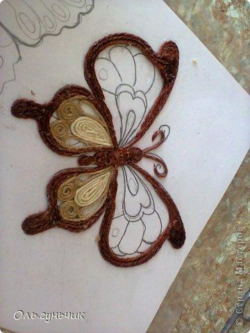 Интерьер Мастер-класс Поделка изделие Аппликация МК Филигранной бабочки Шпагат фото 19