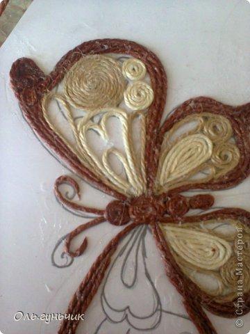 Интерьер Мастер-класс Поделка изделие Аппликация МК Филигранной бабочки Шпагат фото 20