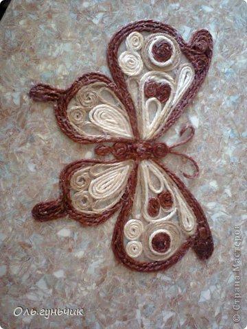 Интерьер Мастер-класс Поделка изделие Аппликация МК Филигранной бабочки Шпагат фото 23