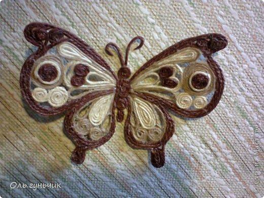 Интерьер Мастер-класс Поделка изделие Аппликация МК Филигранной бабочки Шпагат фото 3