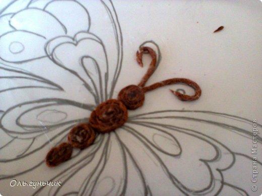 Интерьер Мастер-класс Поделка изделие Аппликация МК Филигранной бабочки Шпагат фото 8