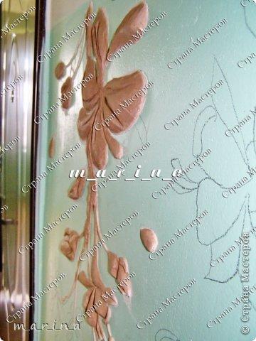 Декор предметов Мастер-класс Аппликация Лепка Роспись МК Фреска в подъезде Сакура для новичков Гипс Краска фото 7