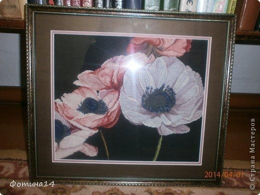 Картина панно рисунок Вышивка крестом Цветы Вышивка Канва Нитки фото 2