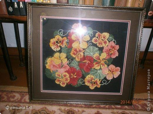 Картина панно рисунок Вышивка крестом Цветы Вышивка Канва Нитки фото 3