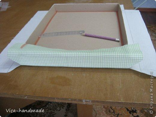 Декор предметов Мастер-класс День рождения Аппликация МК Как обтянуть коробку тканью Два варианта Бумага Картон Ленты Ткань фото 74