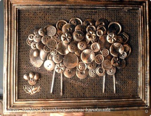 Картина панно рисунок Ассамбляж Пуговичная овечка Авии  Картон Краска Монета Пуговицы фото 5