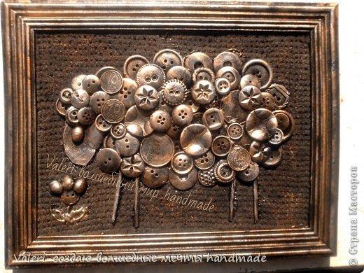 Картина панно рисунок Ассамбляж Пуговичная овечка Авии  Картон Краска Монета Пуговицы фото 1