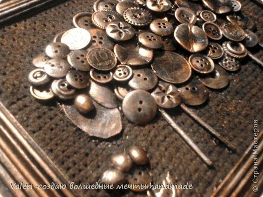 Картина панно рисунок Ассамбляж Пуговичная овечка Авии  Картон Краска Монета Пуговицы фото 2
