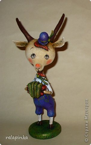 Игрушка Мастер-класс Скульптура Новый год Папье-маше Тирольский козлик Бумага фото 37