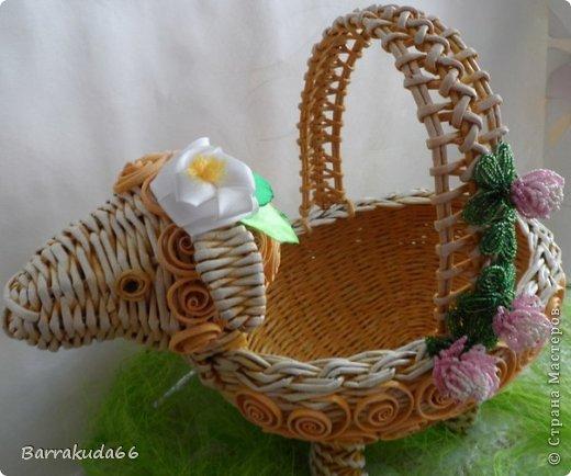 Мастер-класс Новый год Пасха Плетение Корзинка Овечка Бумага газетная Трубочки бумажные фото 22