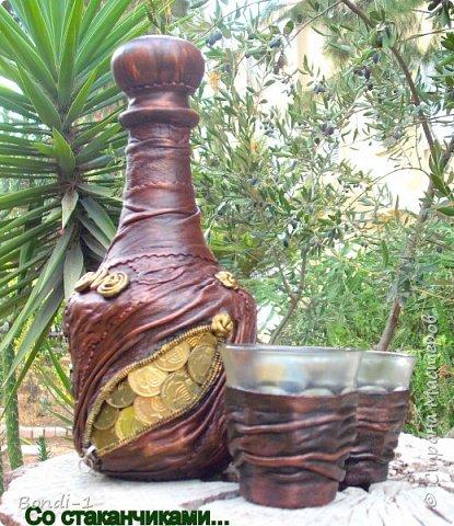 Декор предметов Ассамбляж Комплект с монетками Бутылки стеклянные Кожа Стаканы фото 1