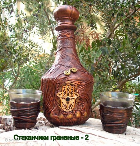 Декор предметов Ассамбляж Комплект с монетками Бутылки стеклянные Кожа Стаканы фото 2