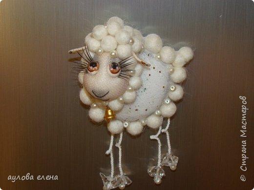 Мастер-класс Поделка изделие Новый год Шитьё Магниты Овечки Конкурс Символ 2015 года Капрон Картон Пряжа фото 39