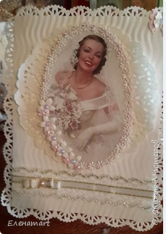 Открытка Скрапбукинг Свадьба Ассамбляж Свадебные открытки Бумага Бусины Кружево Ленты фото 1