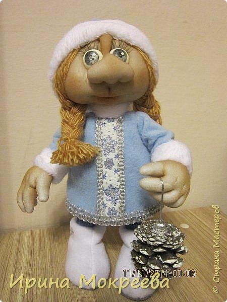 Куклы Мастер-класс Новый год Шитьё снегурочка 1-я часть Капрон Мех Нитки Сутаж тесьма шнур Ткань фото 1