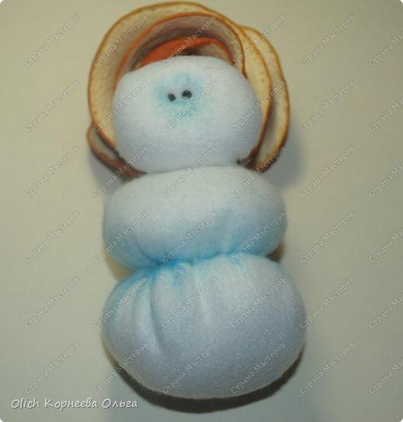 Игрушка Мастер-класс Новый год Шитьё Снеговик-малыш Бусины Клей Кружево Проволока Ткань Фетр фото 20