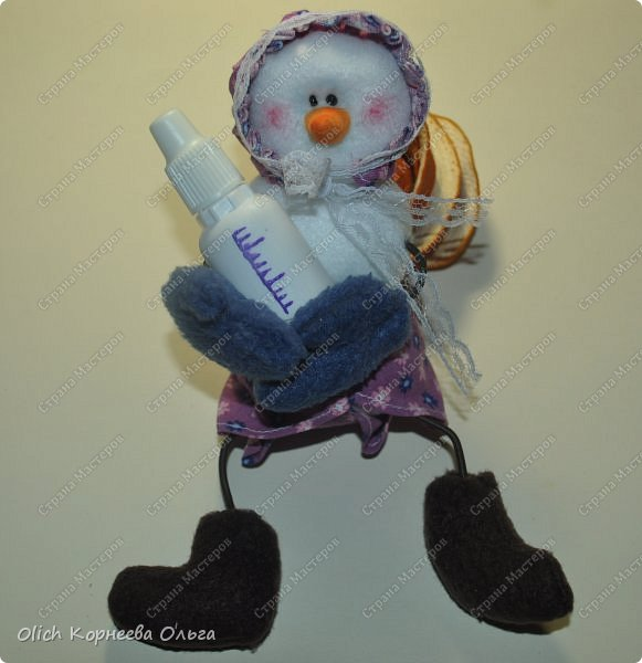 Игрушка Мастер-класс Новый год Шитьё Снеговик-малыш Бусины Клей Кружево Проволока Ткань Фетр фото 23