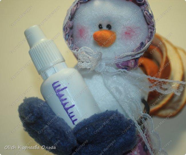 Игрушка Мастер-класс Новый год Шитьё Снеговик-малыш Бусины Клей Кружево Проволока Ткань Фетр фото 24