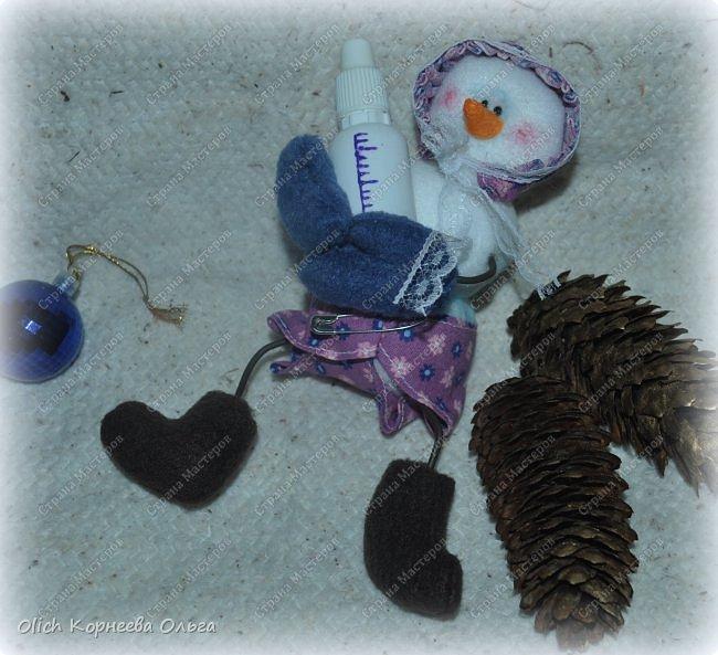 Игрушка Мастер-класс Новый год Шитьё Снеговик-малыш Бусины Клей Кружево Проволока Ткань Фетр фото 2