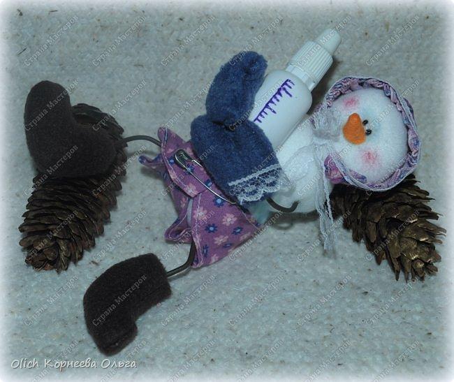 Игрушка Мастер-класс Новый год Шитьё Снеговик-малыш Бусины Клей Кружево Проволока Ткань Фетр фото 3