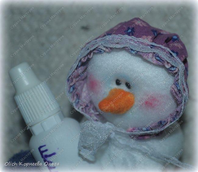 Игрушка Мастер-класс Новый год Шитьё Снеговик-малыш Бусины Клей Кружево Проволока Ткань Фетр фото 5