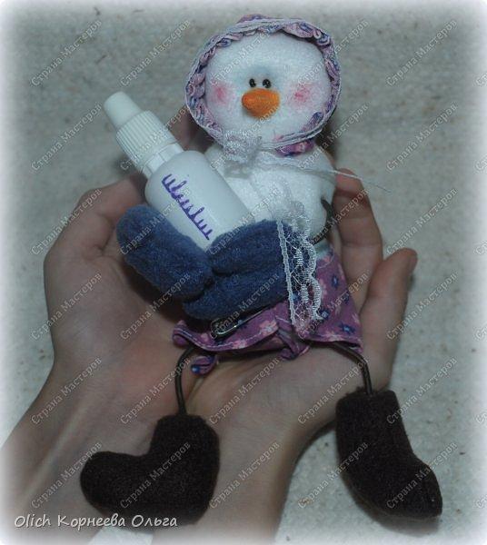 Игрушка Мастер-класс Новый год Шитьё Снеговик-малыш Бусины Клей Кружево Проволока Ткань Фетр фото 1
