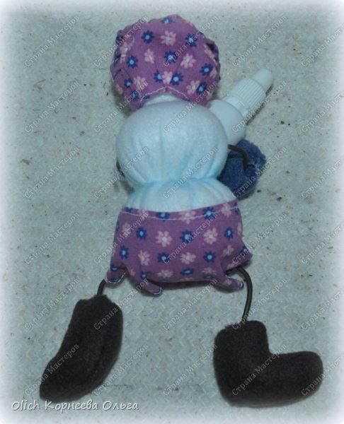 Игрушка Мастер-класс Новый год Шитьё Снеговик-малыш Бусины Клей Кружево Проволока Ткань Фетр фото 7