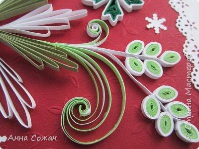Открытка Новый год Квиллинг Новогоднее вдохновение Открытки Бумажные полосы Бусины фото 4