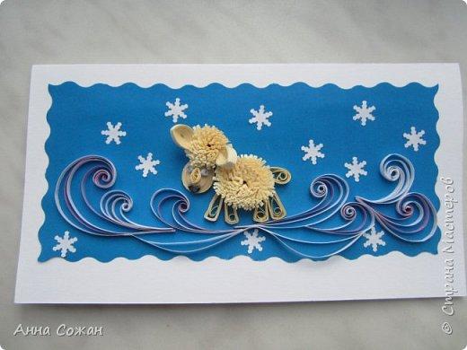 Открытка Новый год Квиллинг Новогоднее вдохновение Открытки Бумажные полосы Бусины фото 11