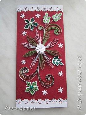Открытка Новый год Квиллинг Новогоднее вдохновение Открытки Бумажные полосы Бусины фото 2