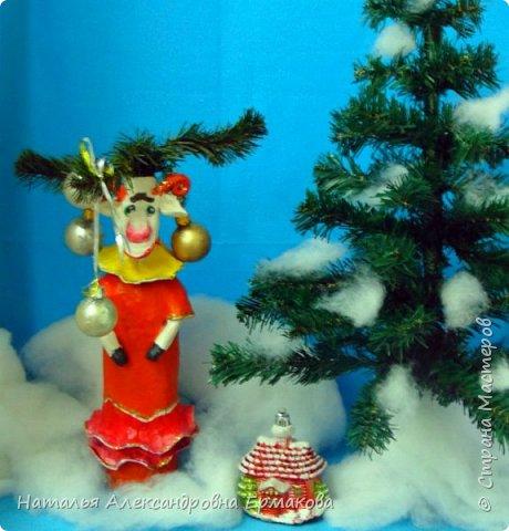 Декор предметов Новый год Лепка Символ года 2015 Коза своими руками Бутылки стеклянные фото 2