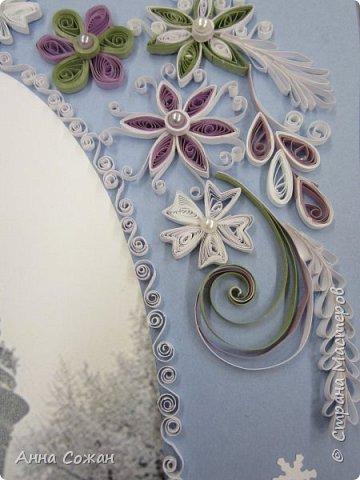 Картина панно рисунок Новый год Квиллинг Мчит Новый год на всех парах а мы в праведных трудах Бумажные полосы Бусины фото 3