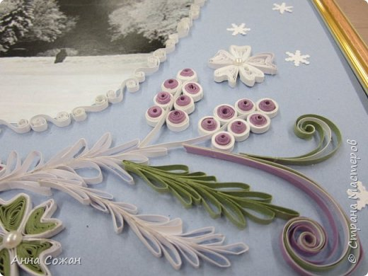 Картина панно рисунок Новый год Квиллинг Мчит Новый год на всех парах а мы в праведных трудах Бумажные полосы Бусины фото 5