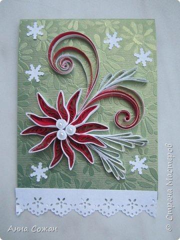 Открытка Новый год Квиллинг Мини-подрочки к Новому году и не только Бумажные полосы Бусины фото 5