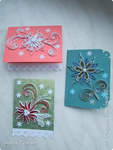 Открытка Новый год Квиллинг Мини-подрочки к Новому году и не только Бумажные полосы Бусины фото 9