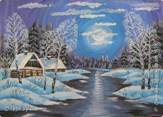 Картина панно рисунок Мастер-класс Рисование и живопись Декоративный пейзаж Зимняя ночь Гуашь фото 1