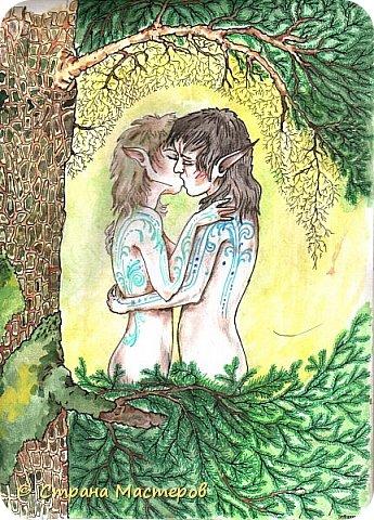 Картина панно рисунок Рисование и живопись Эльфы и прочие волшебные твари Акварель Гуашь Карандаш фото 9