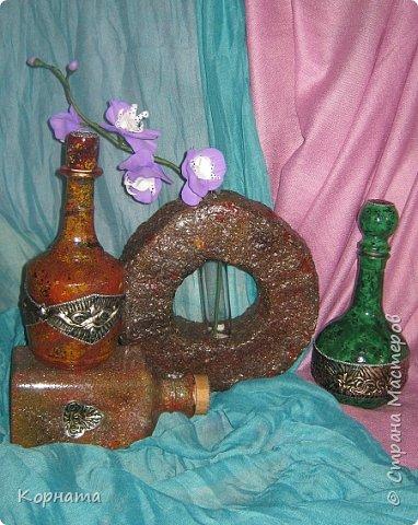 Декор предметов Ковка чеканка В гости к Хозяйке Медной горы Бутылки стеклянные Краска Фольга фото 1