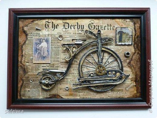 Картина панно рисунок Мастер-класс Аппликация Ассамбляж Ретро велосипед стимпанк Бумага Картон фото 1